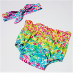 Custom Order Rainbow Bloomers and Matching Headwrap size 000 to 3