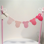 Cake Bunting/Cake Topper/Cake Banner. Pink Ombre Baby Onesie, Baby Shower.