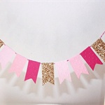 Cake Bunting/Cake Topper/Cake Banner. String of Pennants/Flags. Pink Ombré.