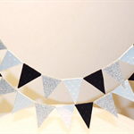 Cake Bunting/Cake Topper/Cake Banner. Suit The Great Gatsby Theme. Black &Silver