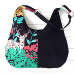 Hobo Bag Purse in Colourful Safari Echino and Black Fabric for Ladies