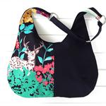 Hobo Bag Purse in Colourful Safari Echino and Black Fabric for Ladies