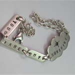 Sterling silver stamped cloud bracelet - You are my Sunshine