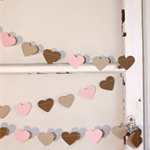 Paper Heart Garland, Pink, Kraft and Latte. Wedding - Engagement - Wall Decor -