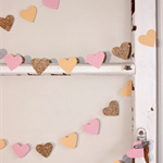 Paper Heart Garland, Peach, Pink and Gold Glitter Hearts - Wedding - Engagement