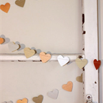 Paper Heart Garland. Gold, Silver and Copper Metallic. Wedding - Engagement.