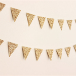 Gold Glitter Flag Garland. Wedding - Engagement - Birthday - Wall Decor.