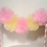 Cake Bunting/Cake Topper/Cake Banner. Tulle Pom Poms. Ballerina, Fairy Birthday