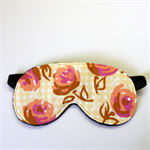 3 Layer Quilted Eye Mask - Peach Roses on spots