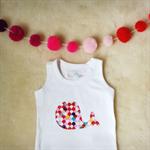 Whale RED n PINK or BLUE // Baby Singlet Onesie Short or Long Sleeve Tshirt