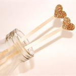 Cocktail/Drink Stirrers/Swizzle Sticks. Glitter Love Heart. Gold/ Silver.