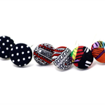 Fabric Button Earrings (3 pair pack)