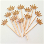 Glitter Crown/Tiara Cupcake Pokes/Cupcake Toppers. Set of 12. Princess - Fairy.