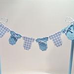 Cake Bunting/Cake Topper Blue Gingham Baby Onesie, Baby Shower - Gender Reveal -