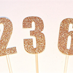 6cm Number Cake Pokes - Cake Toppers. Gold or Silver. Birthday.