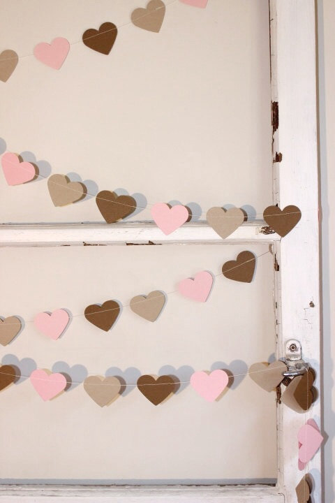 Wall Decorations For Engagement Party : Paper heart garland pink kraft and latte wedding