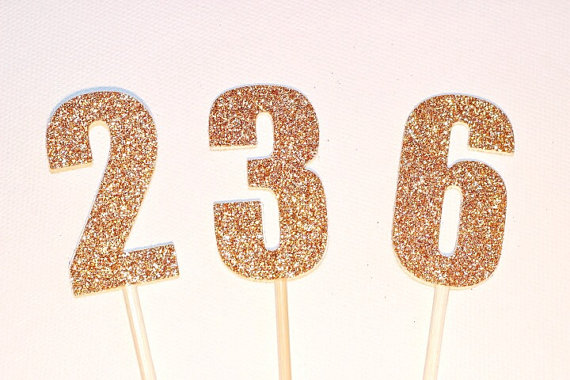 6cm Number Cake Pokes Toppers Gold Or Silver Birthday