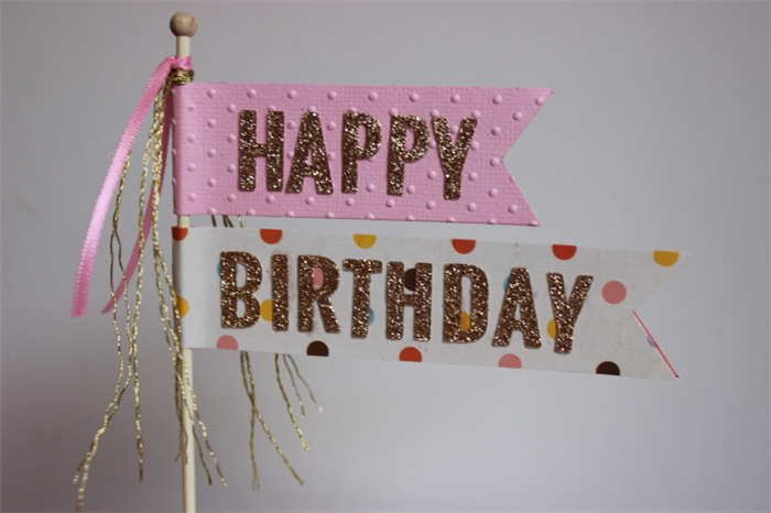 Happy Birthday Cake Poke Topper Blue Or Pink Gold Glitter