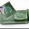 Green Ceramic Tapas & Condiment Dish on Serving Tray Sushi Set Handmade Pottery