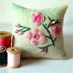 Square Embroidered Pin Cushion Australian Native Flowers Geraldton Wax