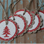 6 Handmade Christmas Tree Gift Tags ~ Swing Tags ~ Favour Tags ~ Tree Tags