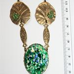 Frog in a lily pond Czech glass opal Swarovski green Artisan Nouveau necklace