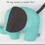 "Large Plush Elephant, Mint & Grey Dot ""Sweet Pea"""