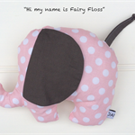 "Large Plush Elephant, Pink and Grey Polka Dot ""Fairy Floss"""