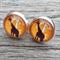 Glass dome stud earrings - Giraffe on orange