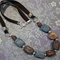 Natural stone necklace in shades of blue and grey