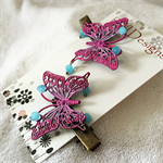 Hot pink and Blue Butterfly Hair Clips (1 Pair)