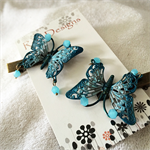 Metallic Shades of Blue Butterfly Hair Clips (1 Pair)