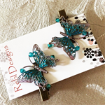Metallic Blue and pale pink Butterfly Hair Clips (1 Pair)