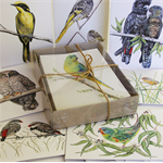 Australian BIRDS GIFT BOX of 8 greeting cards - threatened wildlife illustration