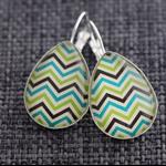 Tri Coloured Chevron~Teardrop Lever Back Earrings