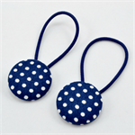 Button Hair Ties - Navy Blue Polka Dot