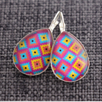 Aztec~Teardrop Lever Back Earrings