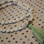 Fresh white beaded and tasseled necklace