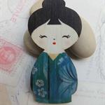 Aqua Japanese Doll Brooch