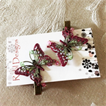 Metallic Green and Pink Butterfly Hair Clips (1 Pair)