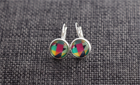 Colourful Geo~ Silver Plate Lever back Earrings