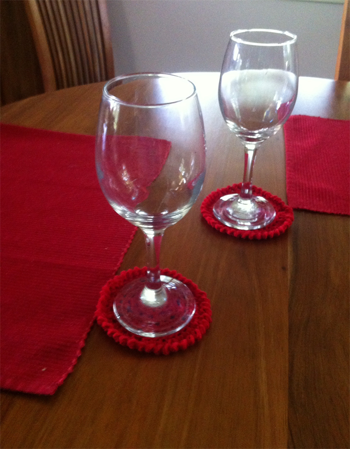Coaster set of 4 red or white handmade cotton drink for Handmade drink coasters