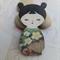 Olive Green & Blue Japanese Doll Brooch