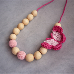 Organic Wood Bead Necklace / Pink with Butterfly / Breastfeeding & Nursing Mums