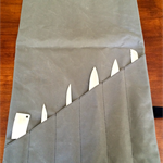 Grey Canvas Knife Roll / Pouch with Leather detail