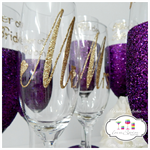 Bridal Party Glitter Glasses Mix and Match Wedding Collection x 8