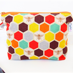 Makeup Pouch / Toiletry Bag with a Flat Bottom - Echino Honeycomb (Orange)