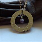 "'Io' Hand-stamped Silver washer with Amethyst Pendant ""HELD LOVED CARRIED"""