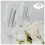 Mr. and Mrs. Glitter Wedding Glasses Mix and Match - Rio Includes Gift Box