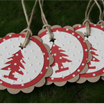 6 Christmas Tree, Christmas Gift Tags ~ Swing Tags  ~ Favour Tags